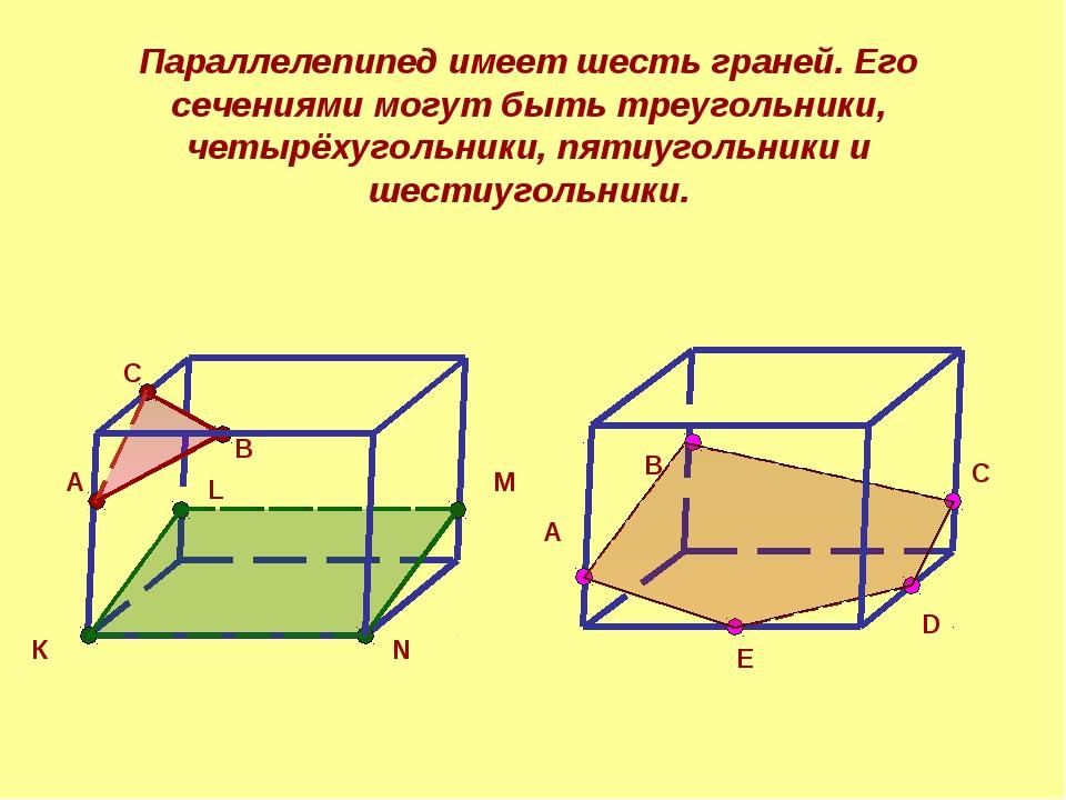 Параллелепипед имеет шесть граней. Его сечениями могут быть треугольники, чет...