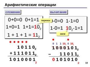 * Арифметические операции сложение вычитание 0+0=0 0+1=1 1+0=1 1+1=102 1 + 1