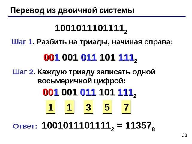 * Перевод из двоичной системы 10010111011112 Шаг 1. Разбить на триады, начина...