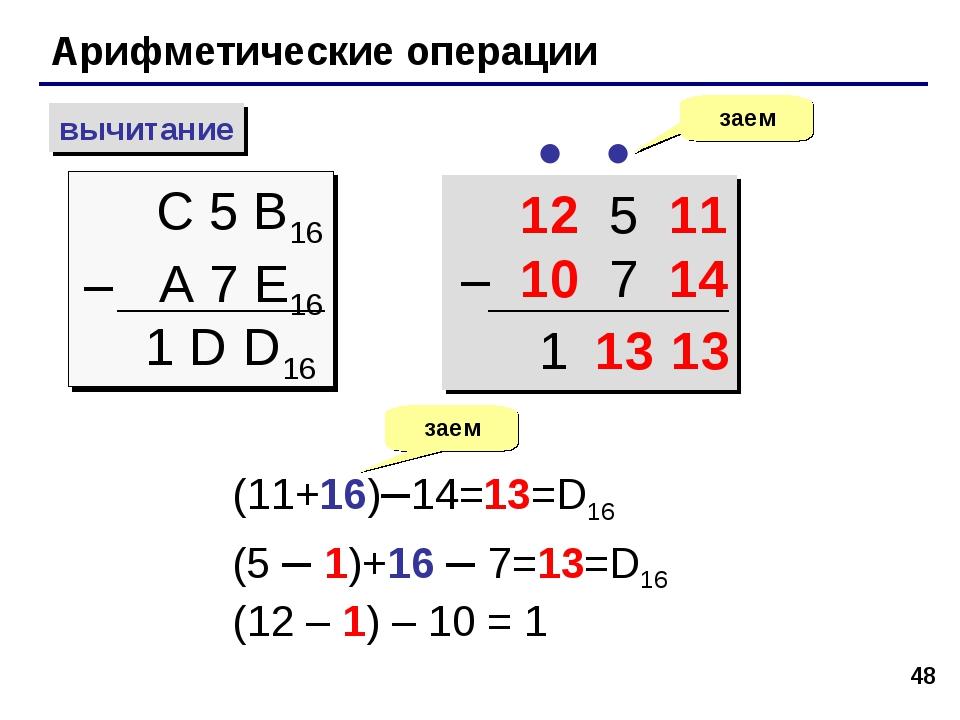 * Арифметические операции вычитание С 5 B16 – A 7 E16 заем  1 D D16 12 5 11...