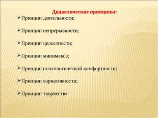 Дидактические принципы: Принцип деятельности; Принцип непрерывности; Принцип