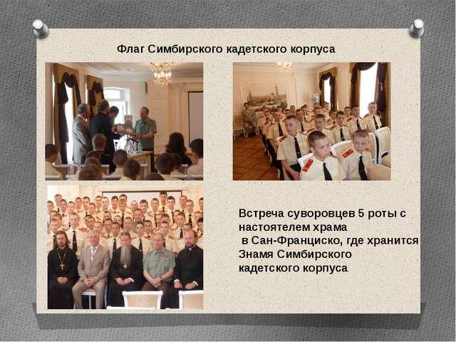 Флаг Симбирского кадетского корпуса Встреча суворовцев 5 роты с настоятелем х...