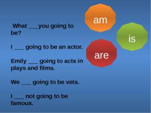 am is are What ___you going to be? I ___ going to be an actor. Emily ___ goin