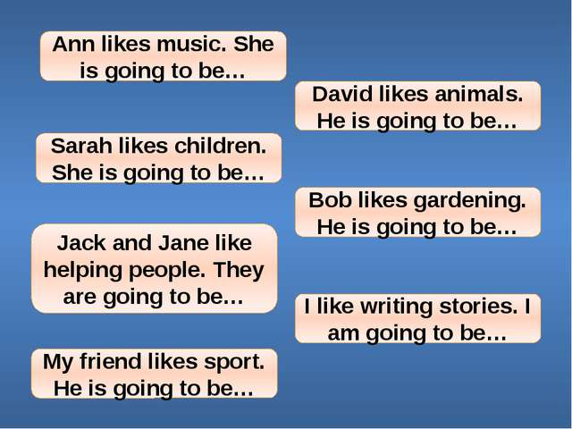 Ann likes music. She is going to be… David likes animals. He is going to be…...