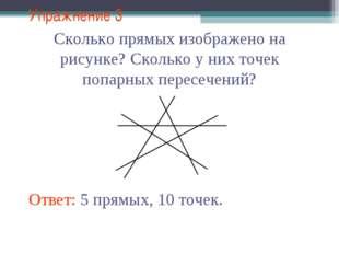 Упражнение 3 Сколько прямых изображено на рисунке? Сколько у них точек попарн