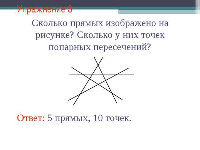 Упражнение 3 Сколько прямых изображено на рисунке? Сколько у них точек попарн...
