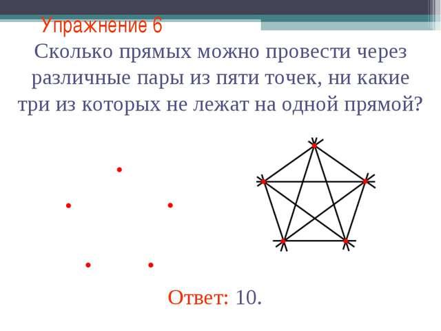 Упражнение 6 Сколько прямых можно провести через различные пары из пяти точек...
