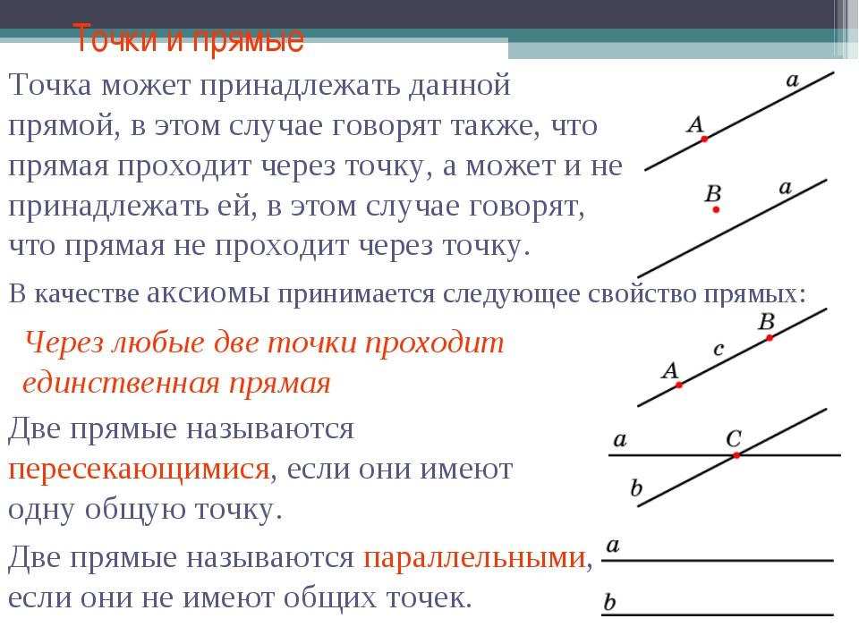 Точки и прямые В качестве аксиомы принимается следующее свойство прямых:
