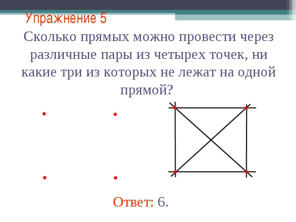 Упражнение 5 Сколько прямых можно провести через различные пары из четырех то...