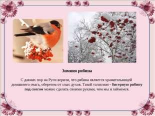 Зимняя рябина С давних пор на Руси верили, что рябина является хранительнице
