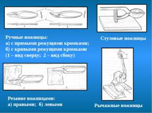 Стуловые ножницы Рычажные ножницы Резание ножницами: а) правыми; б) левыми Р