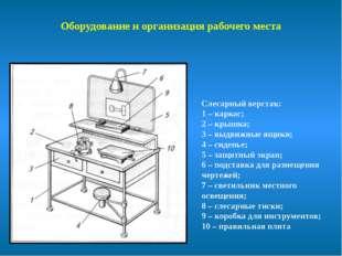 Оборудование и организация рабочего места Слесарный верстак: 1 – каркас; 2 –