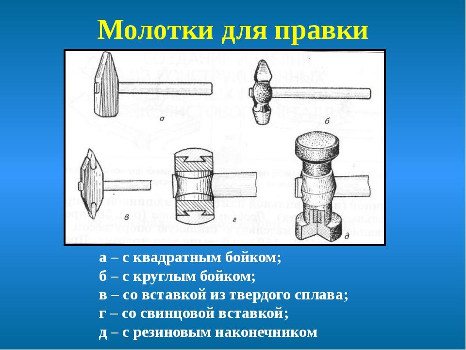 Молотки для правки а – с квадратным бойком; б – с круглым бойком; в – со вста...