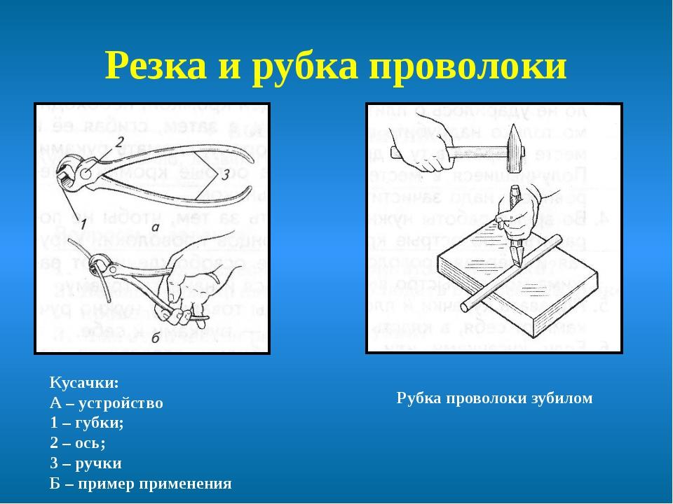 Резка и рубка проволоки Кусачки: А – устройство 1 – губки; 2 – ось; 3 – ручки...