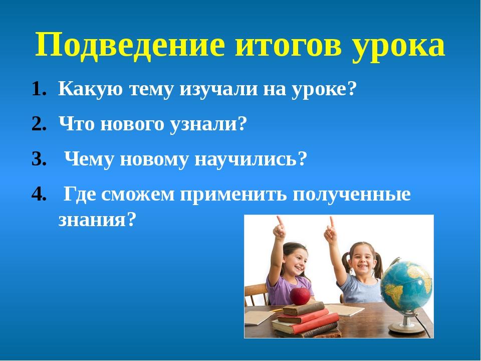 Подведение итогов урока Какую тему изучали на уроке? Что нового узнали? Чему...