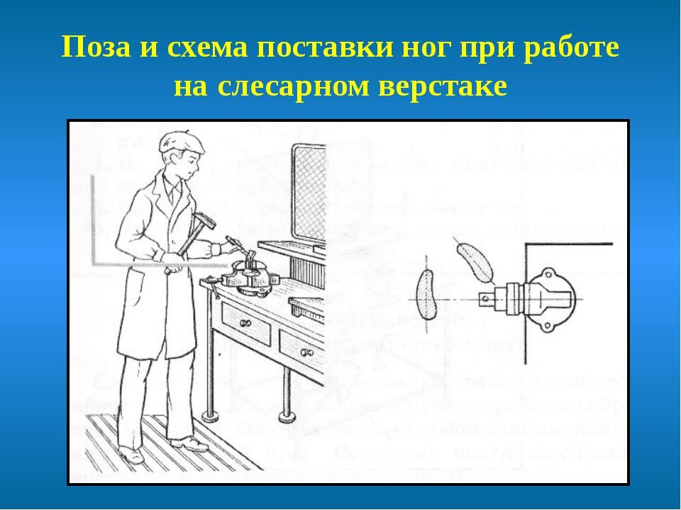 Поза и схема поставки ног при работе на слесарном верстаке