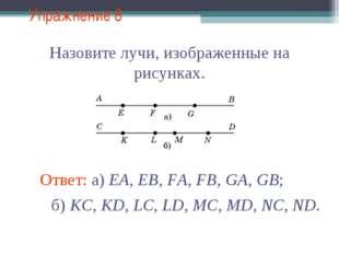 Упражнение 8 Назовите лучи, изображенные на рисунках. Ответ: а) EA, EB, FA, F
