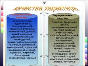 Положительные качества Отрицательные качества Добросовестный, трудолюбивый, С
