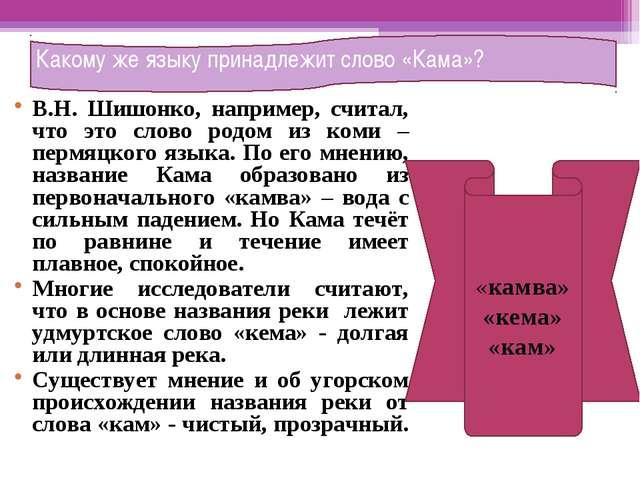 В.Н. Шишонко, например, считал, что это слово родом из коми – пермяцкого язык...