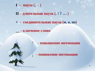 I – пауза (, - ) II – длительная пауза (. ! ? … ) + - соединительная пауза (и