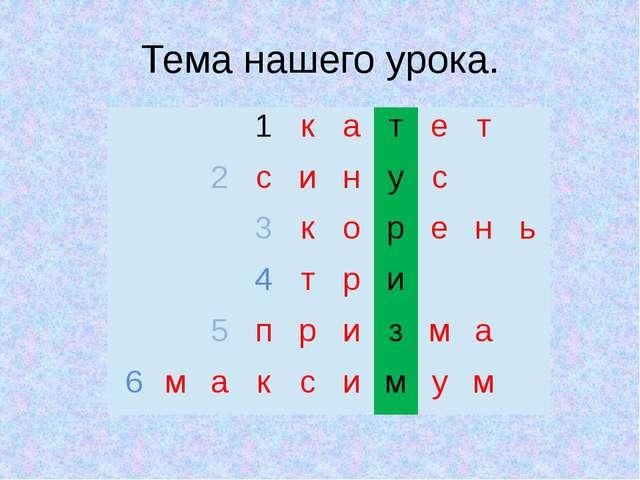 Тема нашего урока.  1 к а т е т 2 с и н у с  3 к о р е н ь 4 т р и  5 п р...