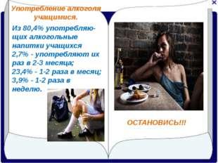 Употребление алкоголя учащимися. ОСТАНОВИСЬ!!! Из 80,4% употребляю-щих алкого