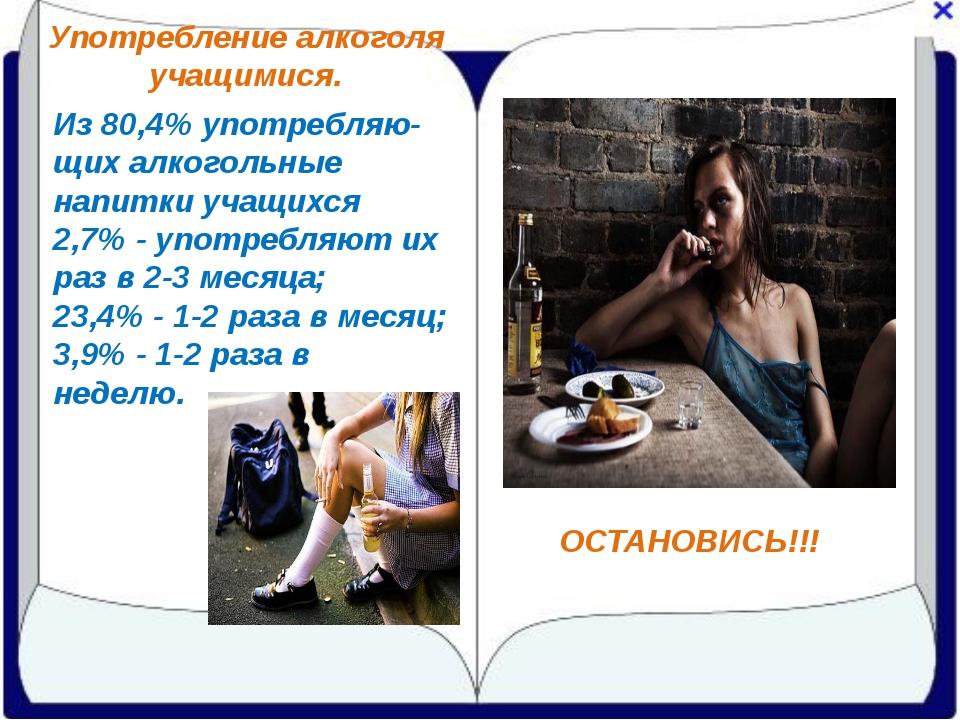 Употребление алкоголя учащимися. ОСТАНОВИСЬ!!! Из 80,4% употребляю-щих алкого...