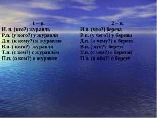 1 – в. И. п. (кто?) журавль Р.п. (у кого?) у журавля Д.п. (к кому?) к журавлю
