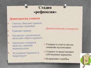 Стадия «рефлексии» Деятельность учащихся Учащиеся учатся писать синквейн колл