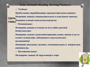 Тема «Extensive Reading. Drawing Numbers» Цель темы Учебные: Продолжать отра