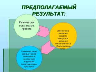 ПРЕДПОЛАГАЕМЫЙ РЕЗУЛЬТАТ: Реализация всех этапов проекта Личностное развитие