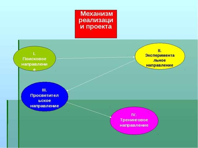 Механизм реализации проекта I. Поисковое направление III. Просветительское на...
