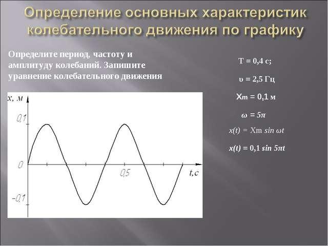 Определите период, частоту и амплитуду колебаний. Запишите уравнение колебате...