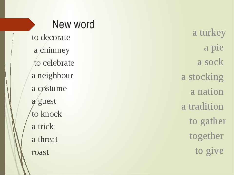 New word to decorate a chimney to celebrate a neighbour a costume a guest to...