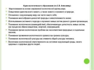 Идеи экологического образования (по С.В. Алексееву): Миропонимание на основе