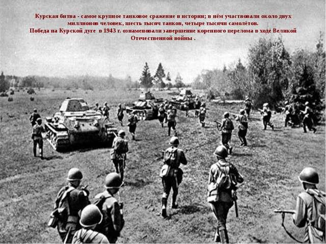 Курская битва - самое крупное танковое сражение в истории; в нём участвовали...
