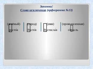 Запомни! Слова-исключения (орфограмма №13) (город) Ростов (зелёный) росток (и