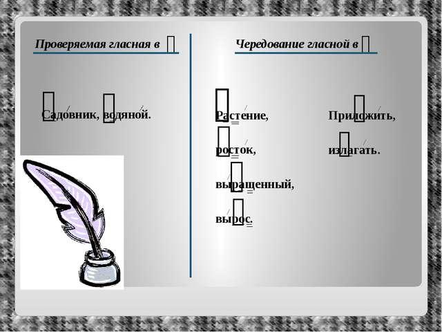 Проверяемая гласная в ᴖ Чередование гласной в ᴖ Садовник, водяной. Растение,...