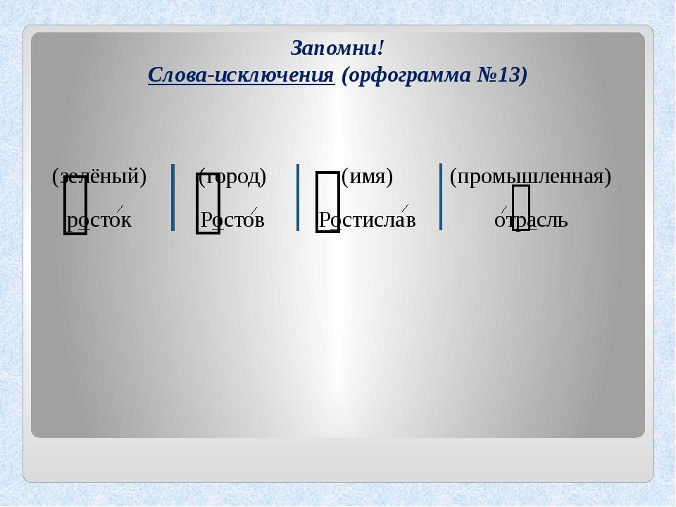 Запомни! Слова-исключения (орфограмма №13) (город) Ростов (зелёный) росток (и...