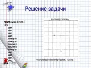 Решение задачи программа Буква Т нач шаг шаг шаг шаг поворот поворот п