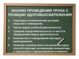 АНАЛИЗ ПРОВЕДЕНИЯ УРОКА С ПОЗИЦИИ ЗДОРОВЬЕСБЕРЕЖЕНИЯ Санитарно-гигиенические
