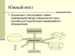 Южный мост Южный мост обеспечивает обмен информацией между северным мостом и