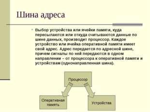 Шина адреса Выбор устройства или ячейки памяти, куда пересылаются или откуда
