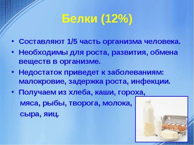 Белки (12%) Составляют 1/5 часть организма человека. Необходимы для роста, ра...