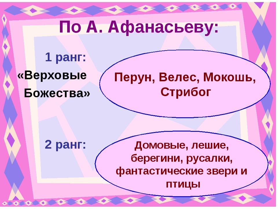 По А. Афанасьеву: 1 ранг: «Верховые Божества» 2 ранг: Перун, Велес, Мокош...