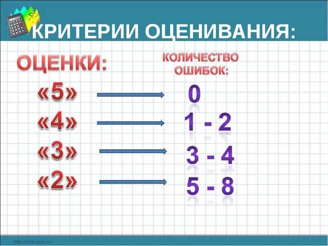 КРИТЕРИИ ОЦЕНИВАНИЯ: