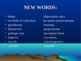 NEW WORDS: dump сбрасывать груз on brink of extinction на грани исчезновения