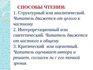 СПОСОБЫ ЧТЕНИЯ: 1. Структурный или аналитический. Читатель движется от целог