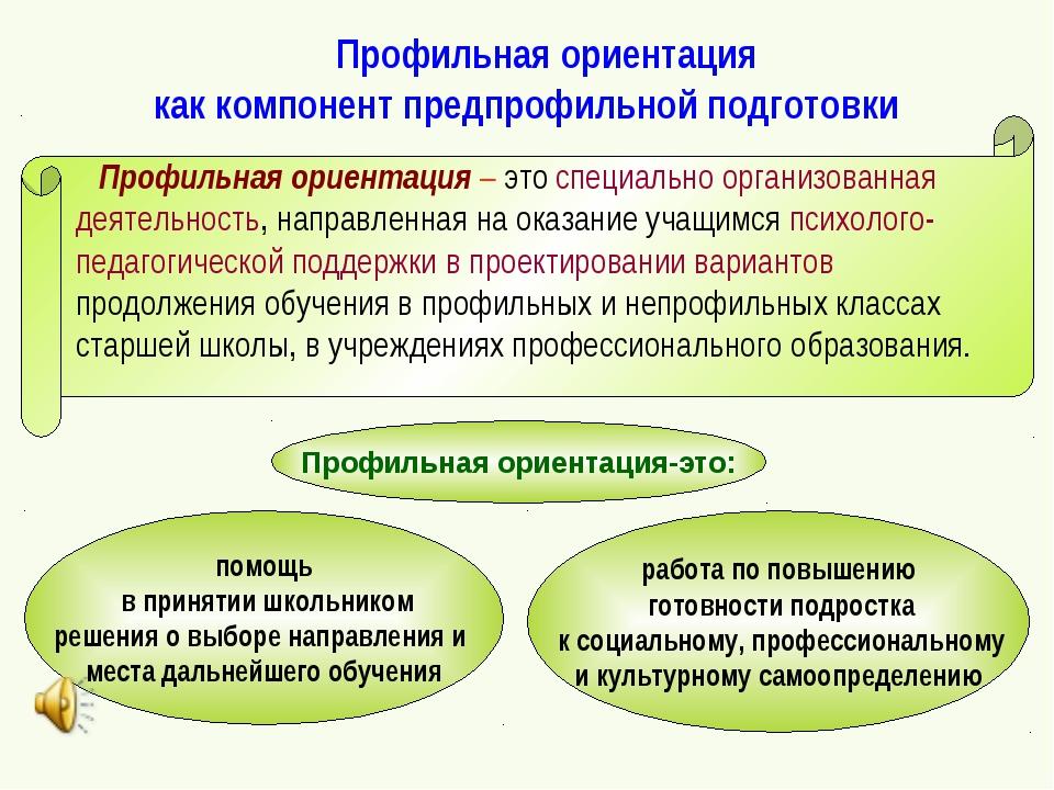 Профильная ориентация как компонент предпрофильной подготовки Профильная ори...