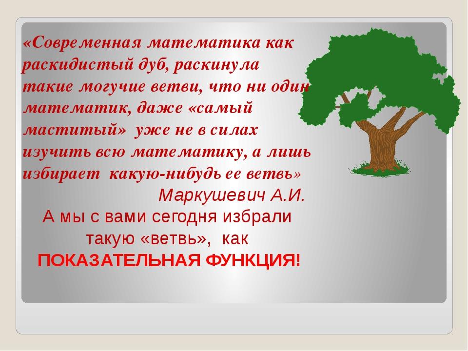 «Современная математика как раскидистый дуб, раскинула такие могучие ветви, ч...